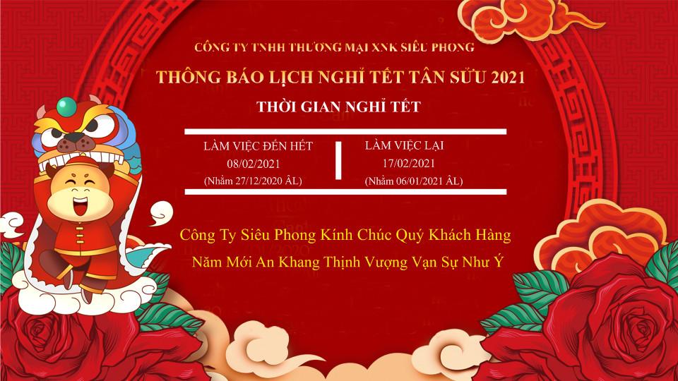 Siêu Phong thông báo nghỉ tết Tân Sửu 2021